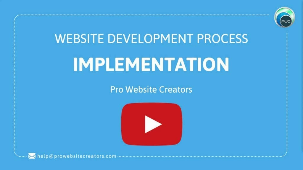Pro Website Creators Website Development Process Implementation with play button
