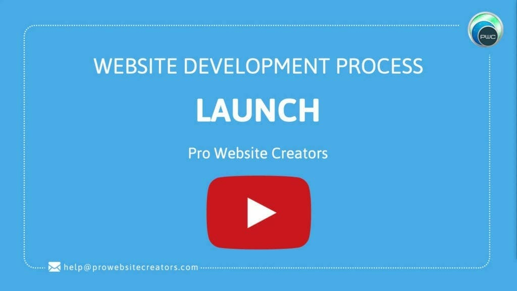 Pro Website Creators Website Development Process Launch with play button